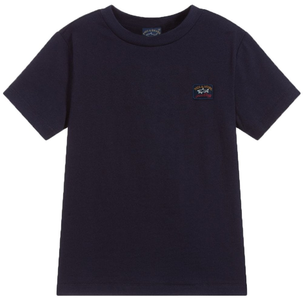 Paul & Shark Kids Logo Patch T-shirt Colour: NAVY, Size: 14 YEARS