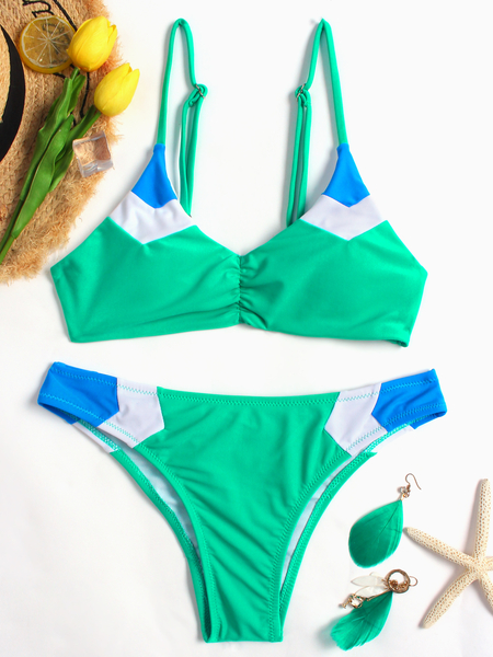 Yoins Green Padded Design Spaghetti Bikini Sets