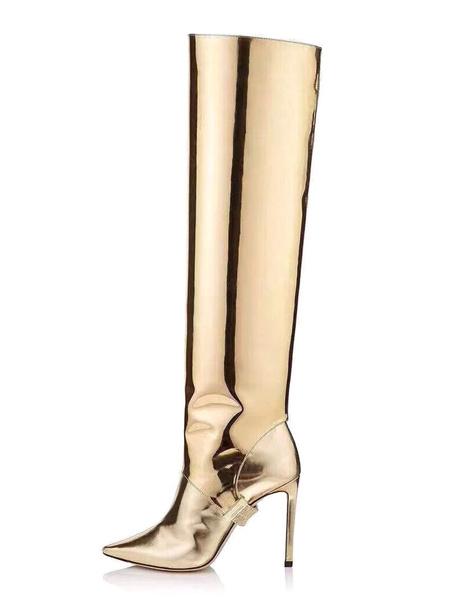 Milanoo Botas hasta la rodilla Cuero de PU Dorado claro Punta puntiaguda Tacon de aguja Mujer Botas hasta la rodilla