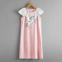 Girls Contrast Raglan Sleeve Unicorn Print Nightdress