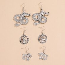 3pairs Chinese Dragon Charm Drop Earrings