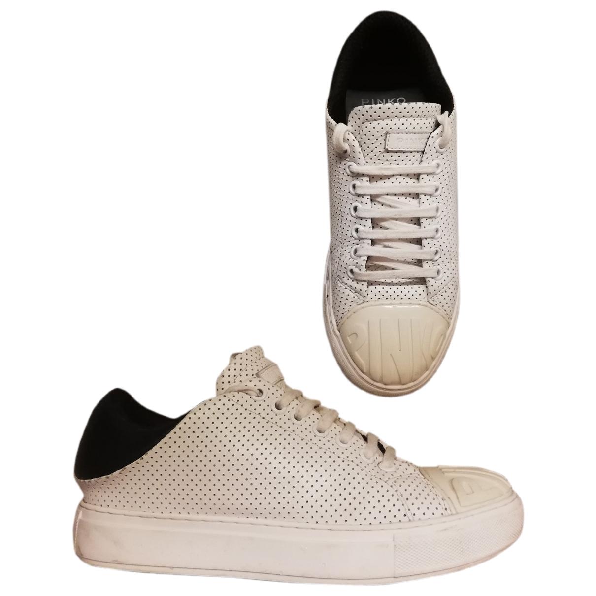 Pinko - Baskets   pour femme en cuir - blanc