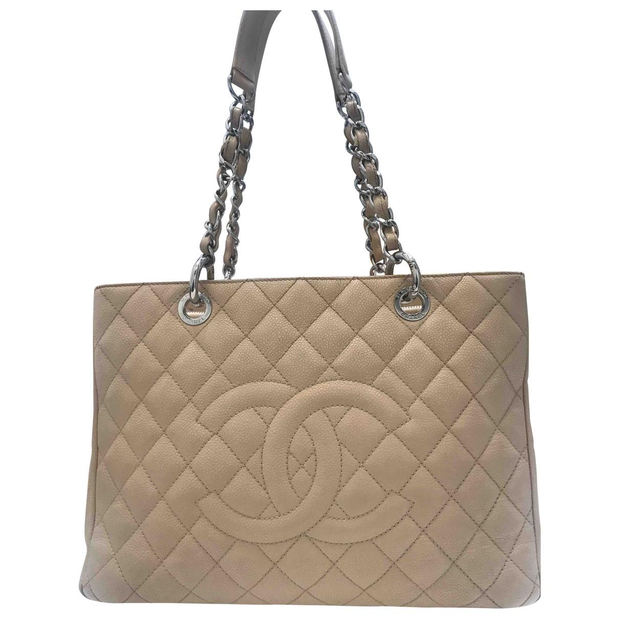 Chanel - Sac a main Grand shopping pour femme en cuir - beige