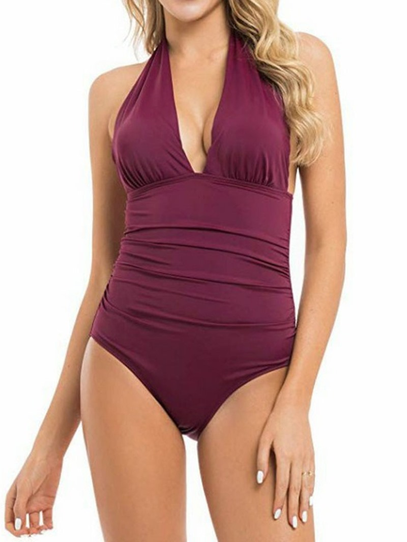 Ericdress V-Neck Plain Pleated Stretchy Lace-Up Swimwear