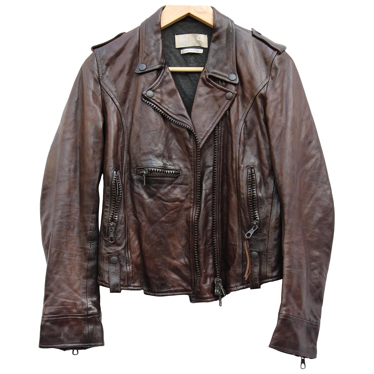 Cycle - Blouson   pour femme en cuir - marron