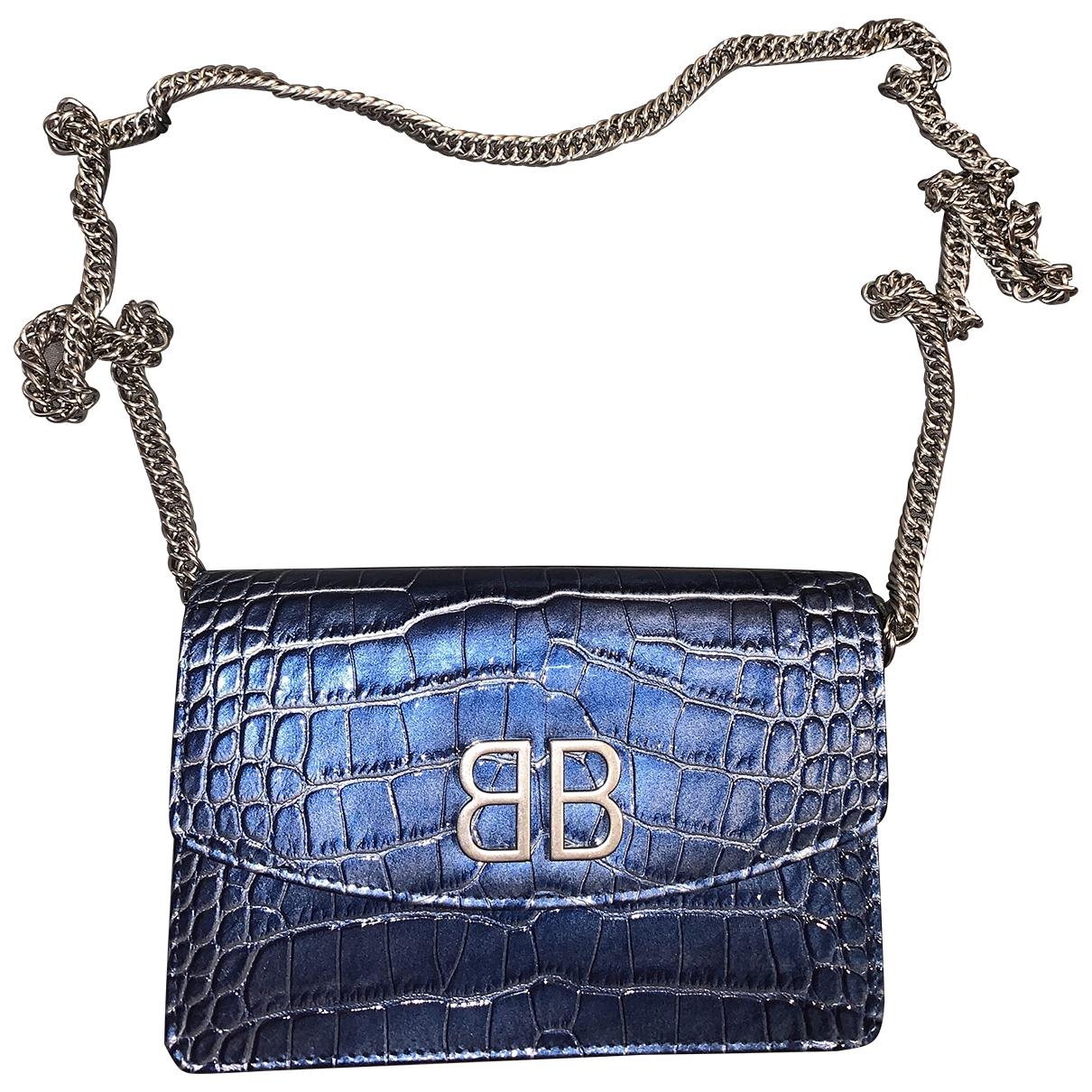 Balenciaga BB chain Blue Leather handbag for Women \N