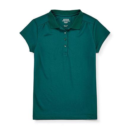 IZOD Performance Mesh Little & Big Girls Short Sleeve Wrinkle Resistant Moisture Wicking Polo Shirt, 10-12 , Green