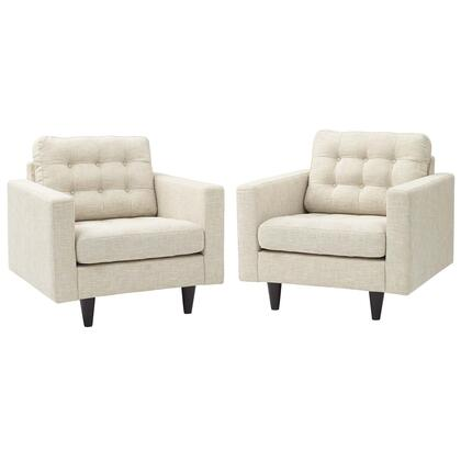 Empress Collection EEI-1283-BEI Set of 2 Armchairs with Solid Wooden Tapered Legs  Deeply Tufted Buttons and Fabric Upholstery in Beige