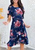 Presale - Floral Ruffled O-Neck Casual Dress - Navy Blue