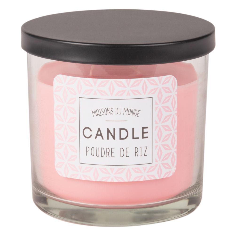 Duftkerze im Glasbehaelter, rosa