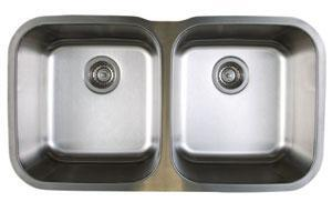 Stellar 441020 Equal Double Bowl Stainless Steel Undermount Kitchen Sink  in Refined Brushed