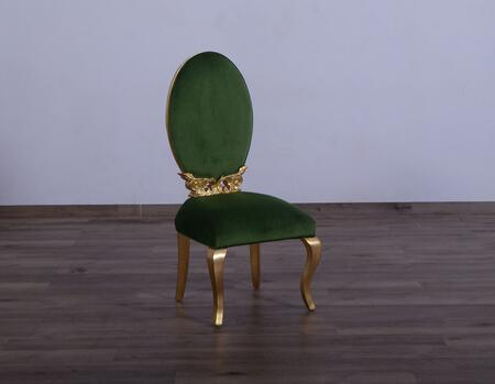 Luxor Collection Dining Chair  Hand Made & Hand Carved into Mahogany Wood Solid  in Emerald Green and Gold