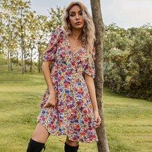 Kleid mit Blumen Muster, V Kragen und Puffaermeln