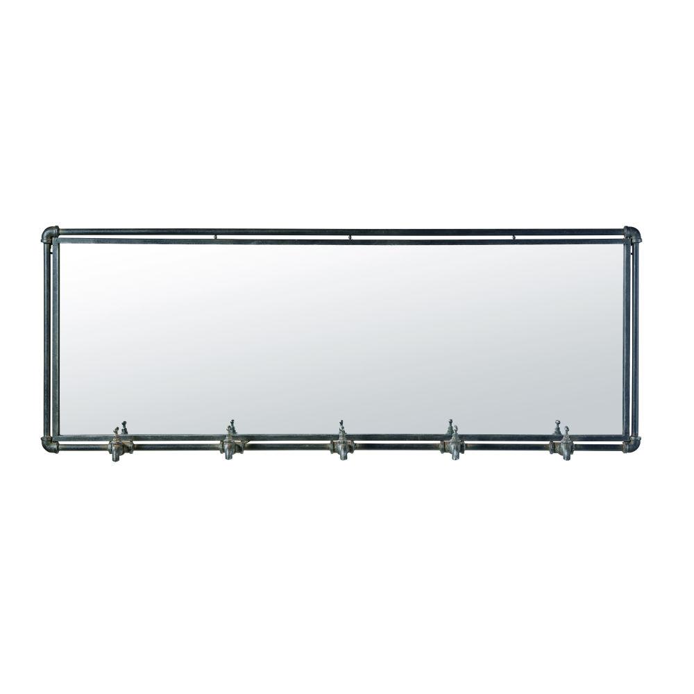 Spiegel im Industrie-Stil mit 5 Kleiderhaken aus schwarzem Metall 135x51