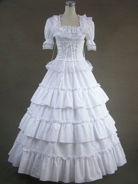 Milanoo White Lolita Dress OP Victorian Era Square Neck Short Sleeve Lolita One Piece Dress