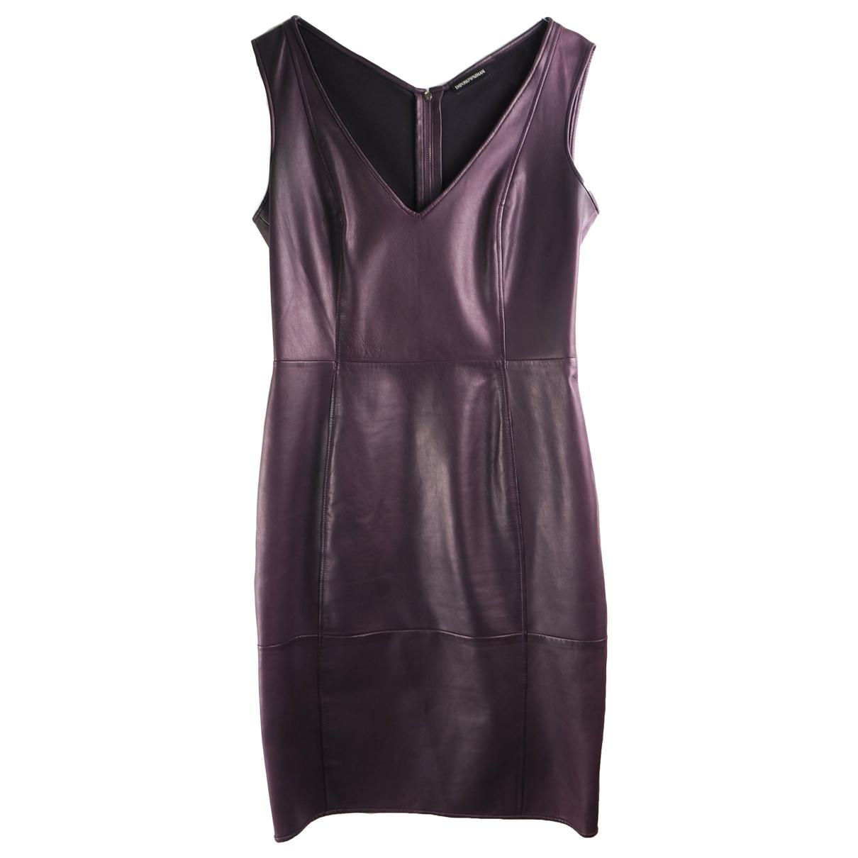 Emporio Armani \N Kleid in  Bordeauxrot Leder