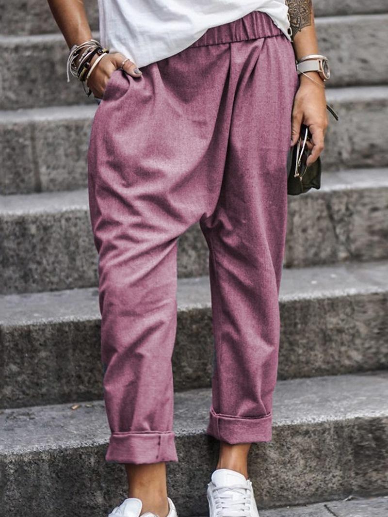 Ericdress Pocket Loose Plain Full Length Casual Pants