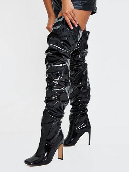 Milanoo Botas sobre la rodilla para mujer Botas de tacon de aguja de invierno con punta cuadrada negra PU