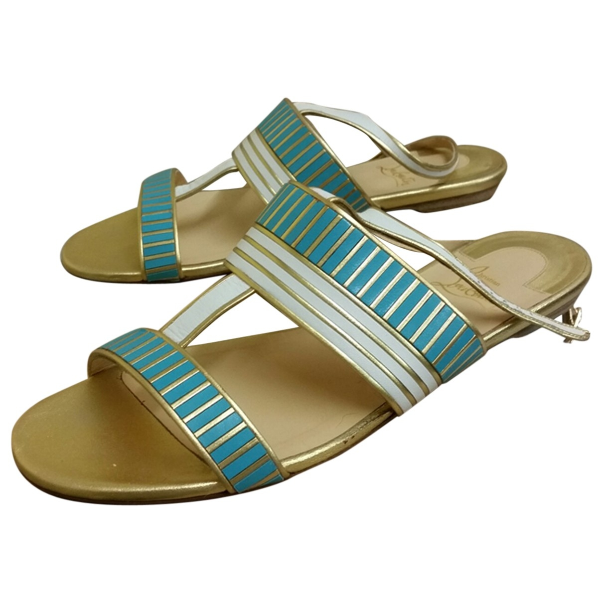 Christian Louboutin \N Turquoise Leather Sandals for Women 39.5 EU