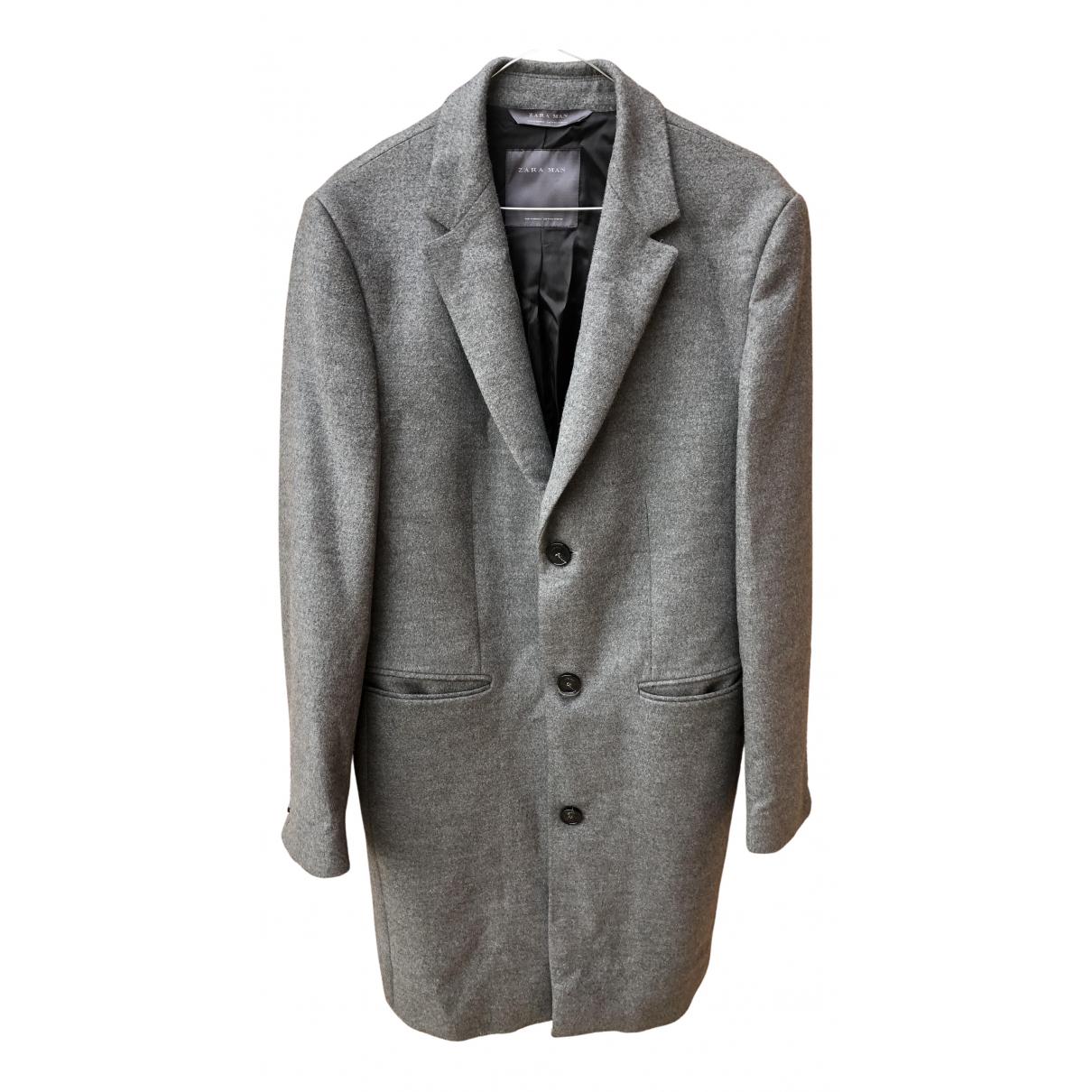 Zara - Manteau   pour homme en laine - gris