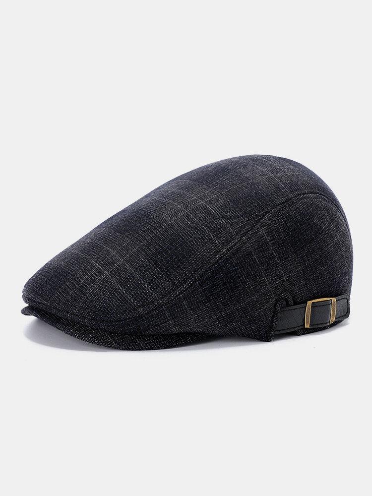 Men Lattice Pattern Retro Flat Cap Fashion Casual Adjustable Forward Hat Beret Hat