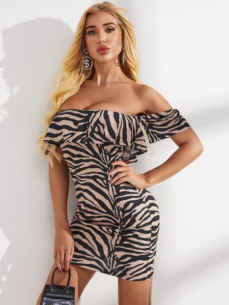 YOINS Brown Backless Zebra Stripe Off The Shoulder Short Sleeves Dress