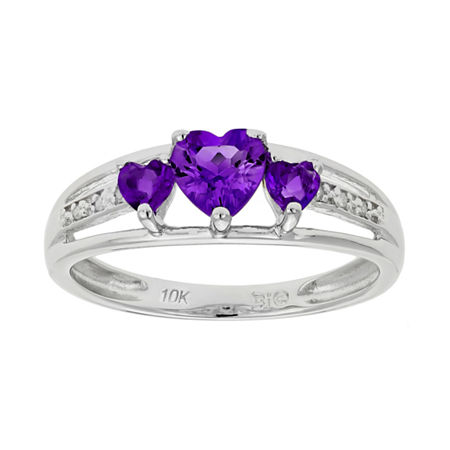 Genuine Amethyst & Diamond-Accent Heart-Shaped 3-Stone 10K White Gold Ring, 7 , No Color Family