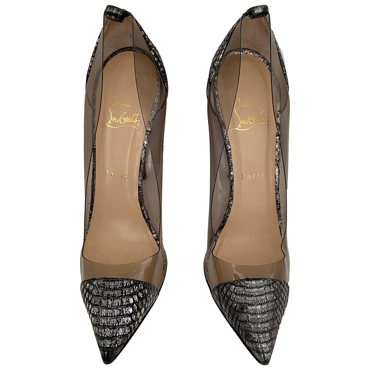 Christian Louboutin \N Silver Leather Heels for Women 38.5 EU