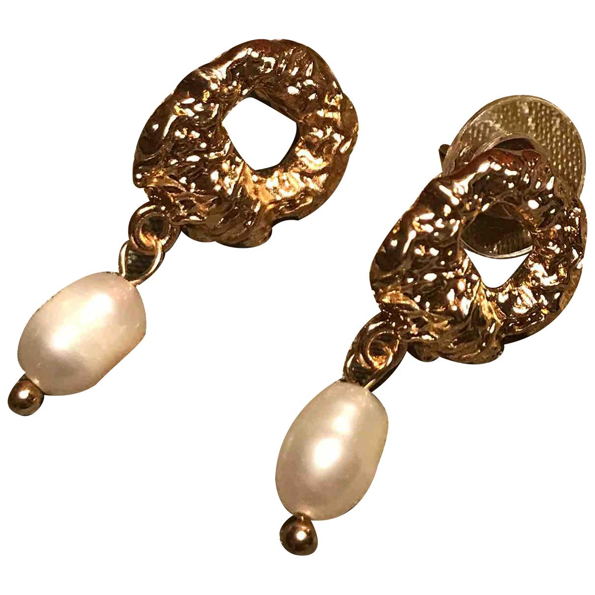 - Boucles doreilles Art Deco pour femme en perles - dore