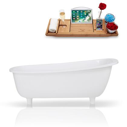 K-1686-63FSWHSS-FM 63 Solid Surface Resin Soaking Freestanding Tub and Tray with Internal