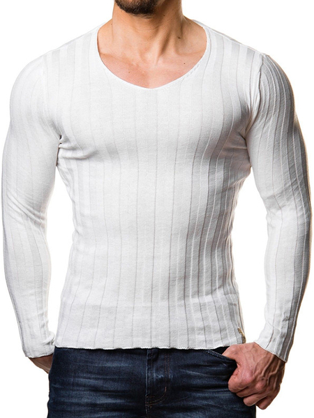 Yoins Men Elastic Stripe Pullover Knitted Round Neck Long Sleeve Sweater