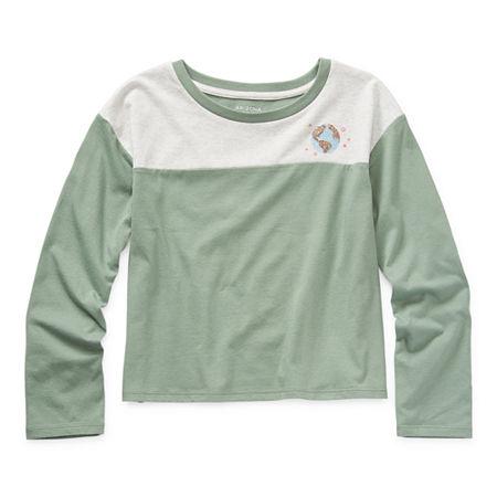 Arizona Little & Big Girls Round Neck Long Sleeve Graphic T-Shirt, Small (7-8) , Green