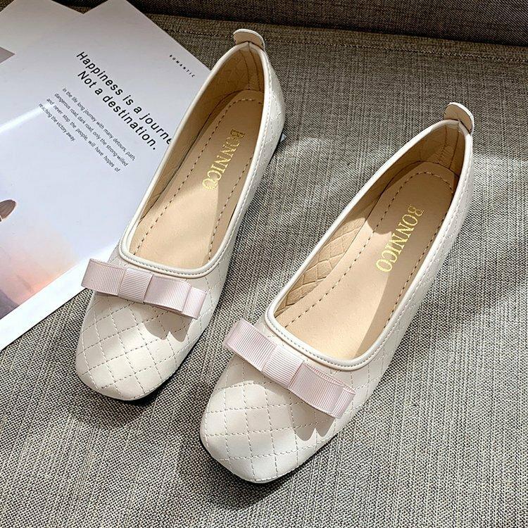 Large Sizes Women Bow Decor Solid Color Flats Shoes