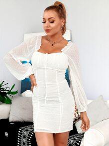 HouseOfChic Kleid mit Laternenaermeln und Punkten Muster