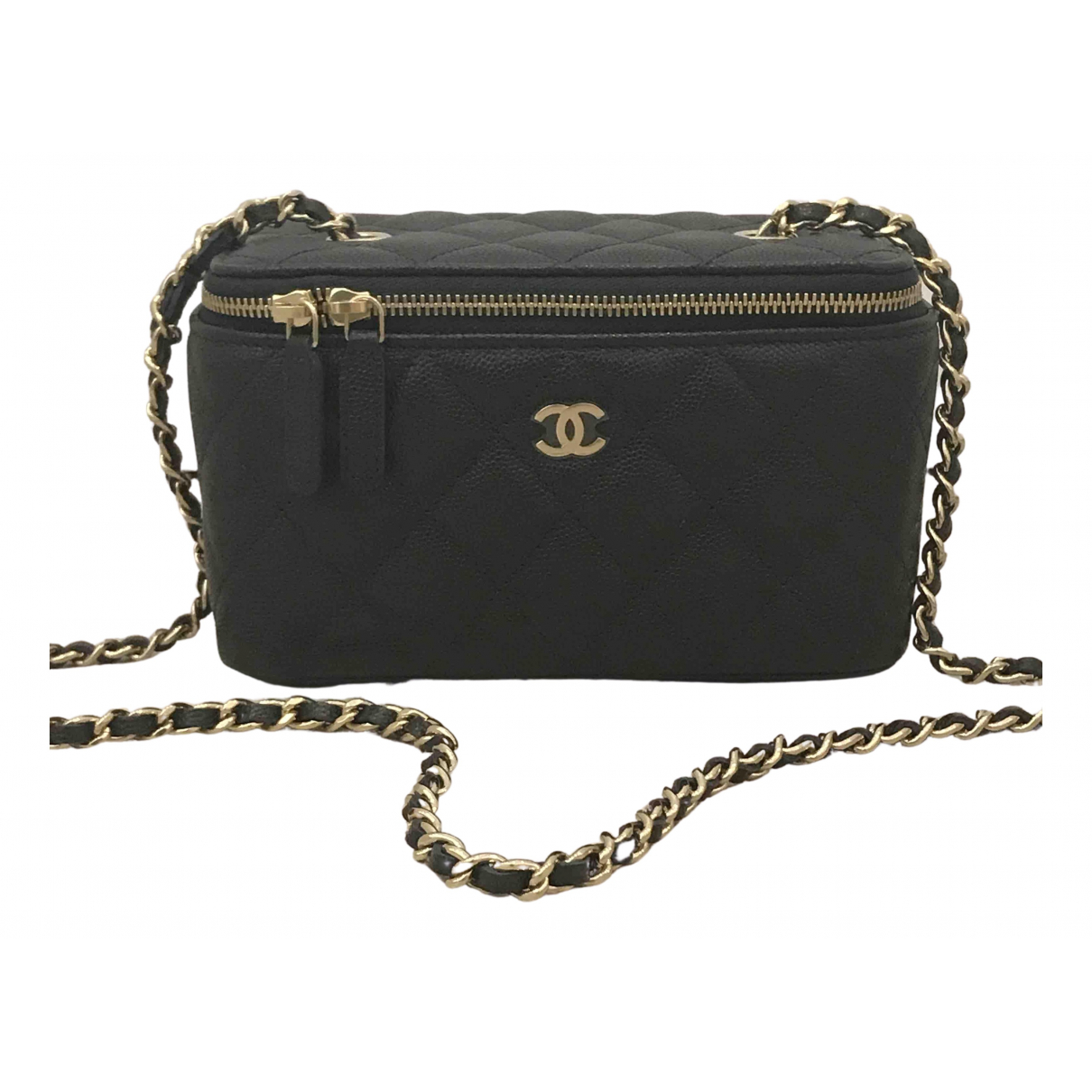 Chanel Vanity Navy Leather handbag for Women N
