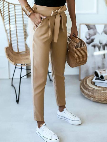 Milanoo High Waist Pants Sash Cropped Trousers