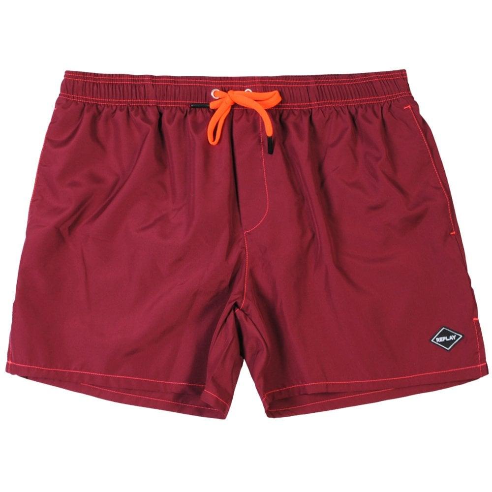 Replay Logo Swim Shorts Maroon Colour: MAROON, Size: LARGE