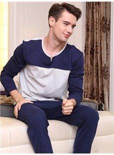 Fashion Homedress Joint Color 100% Cotton Pajamas Sets