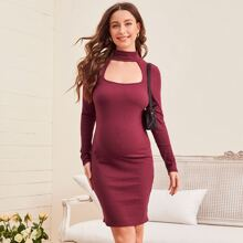 Maternity Keyhole Neck Rib-knit Fitted Dress