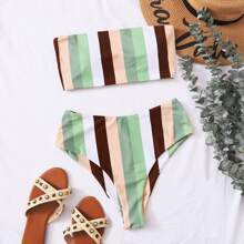 Colorful Striped Bandeau High Waisted Bikini Swimsuit
