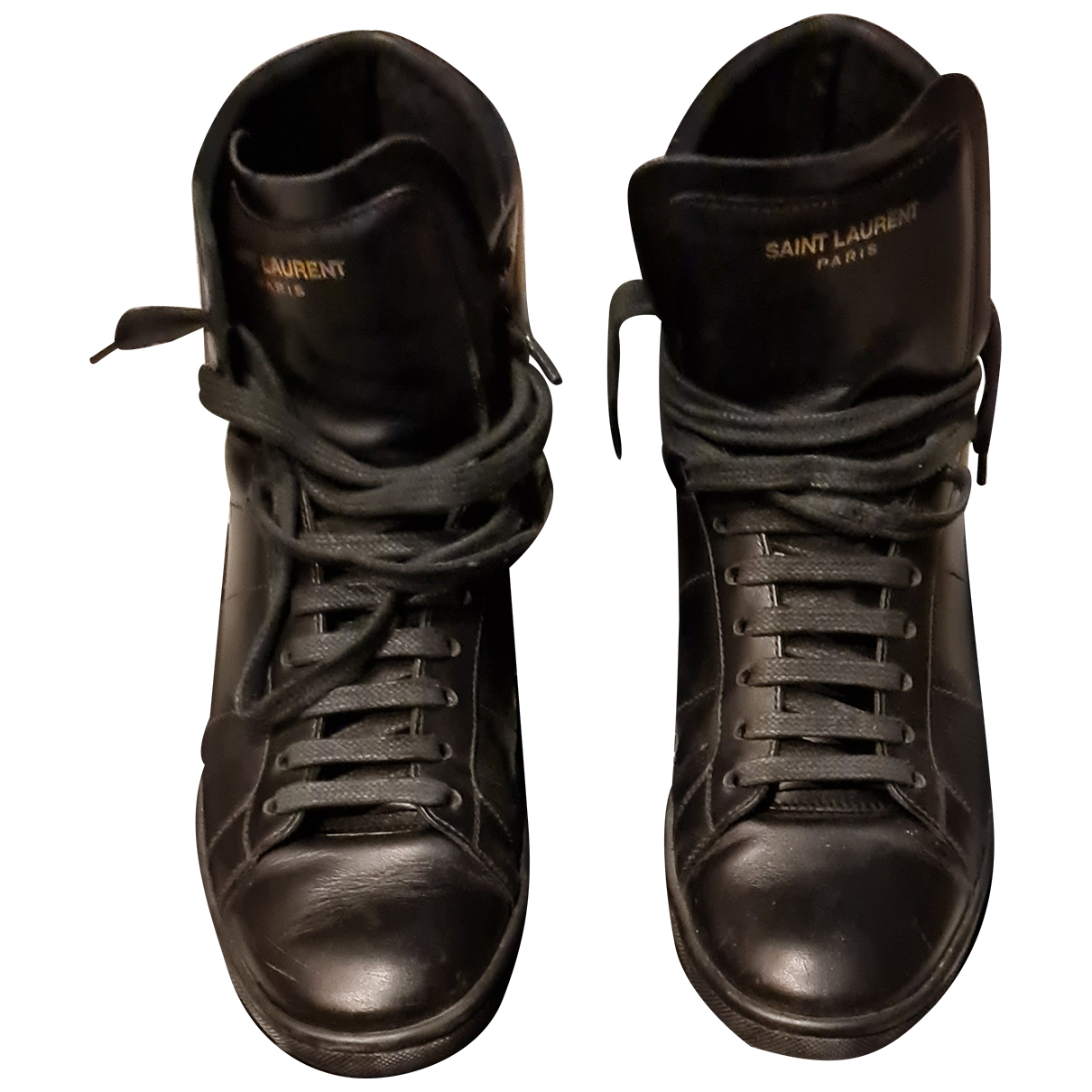 Saint Laurent N Black Leather Trainers for Women 38 EU