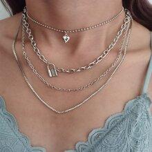 Mehrschichtige Halskette mit Sperren & Herzen Dekor