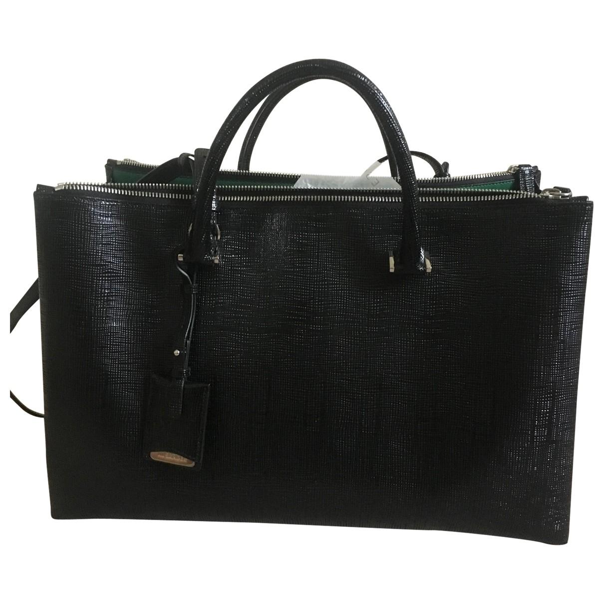 Jil Sander - Sac a main   pour femme en cuir verni - noir