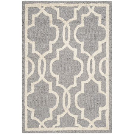 Safavieh Chester Quatrefoil Wool Area Rug, One Size , Silver