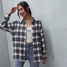 Collared Buttoned Front Plaid Blouse