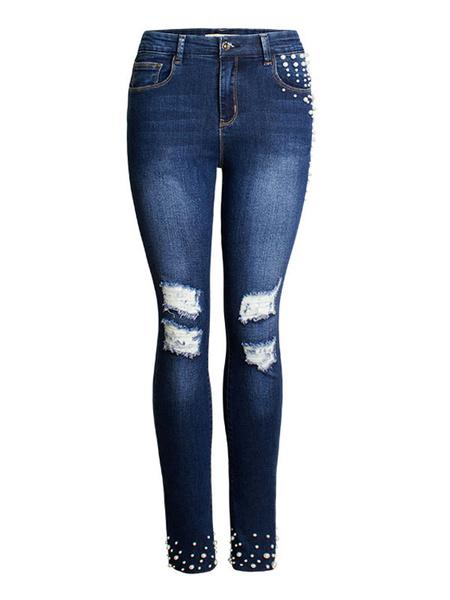 Milanoo Women\'s Jeans Cowboy Pants Blue Long Strength Denim Casual Trousers