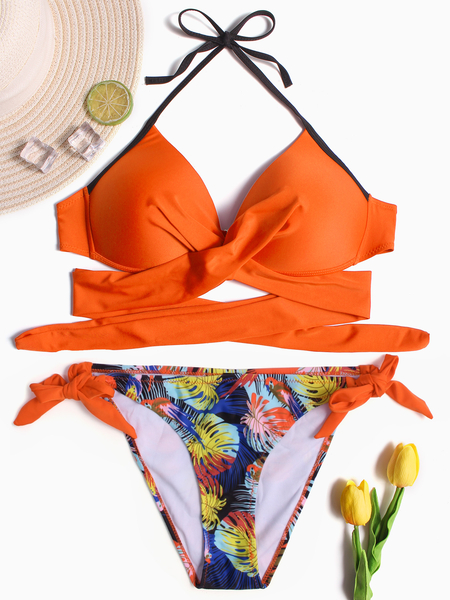 Yoins Orange Crossed Front Halter Lace-up Design Bikini
