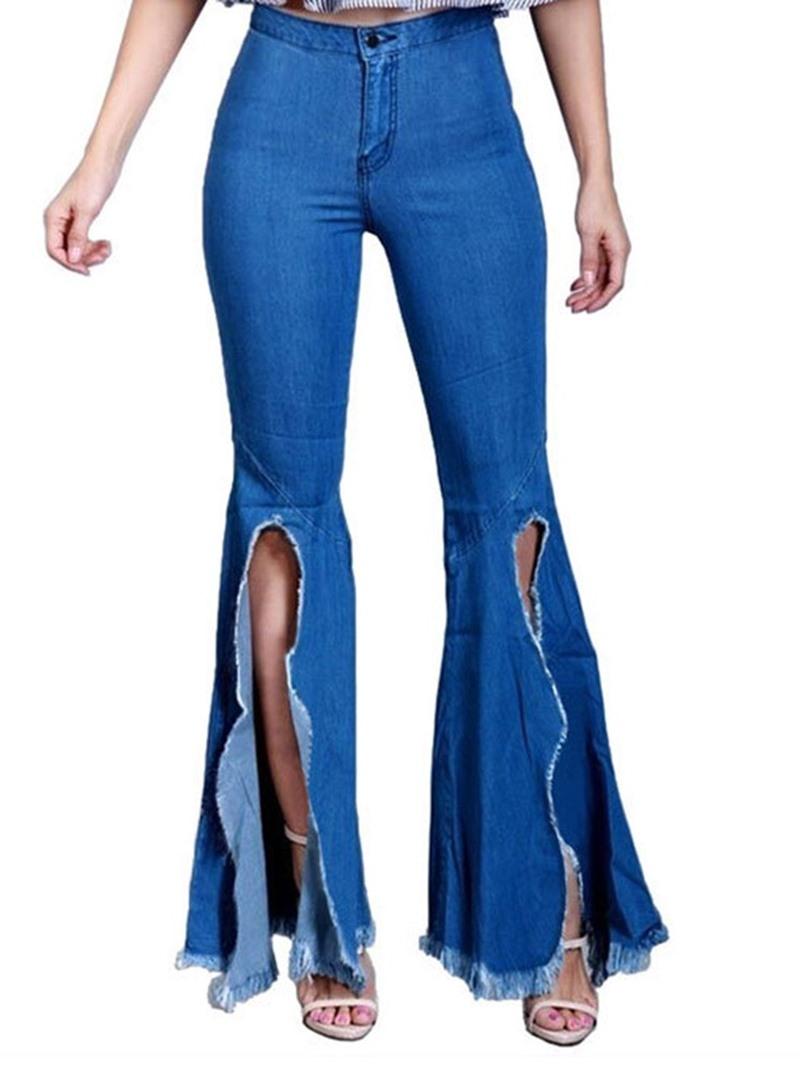 Ericdress Bellbottoms Zipper Slim Women's Jeans