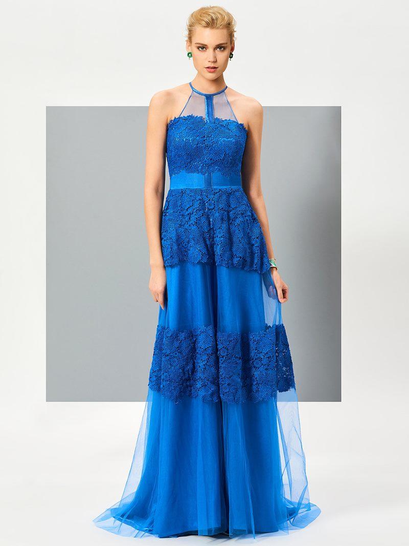 Ericdress Elegant Jewel A-Line Appliques Lace Sleeveless Floor-Length Evening Dress