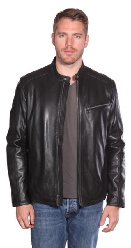 Stanton Leather Moto Jacket Black
